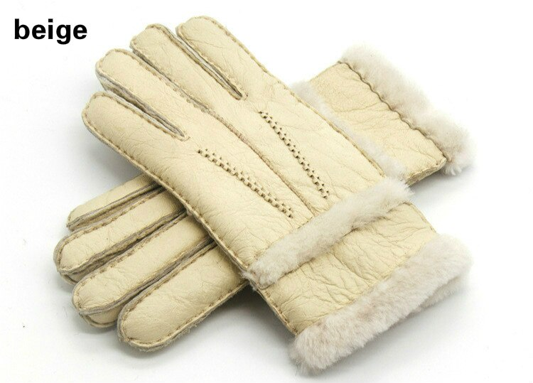 Winter Woolen Gloves Women Gloves Real Sheepskin Fur Warm Gloves Elegant Ladies Full Finger Genuine Leather Gloves
