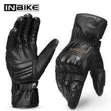Load image into Gallery viewer, INBIKE Winter Genuine Leather Motorcycle Gloves Thermal Windproof  Motorbike Gloves Guantes Moto Gloves Waterproof Men