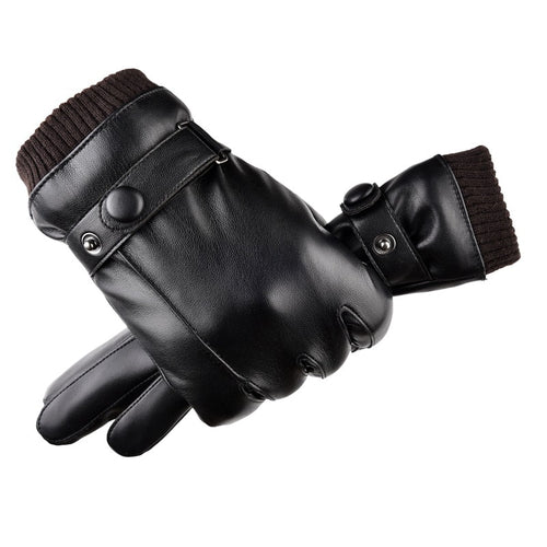 2019 Fashion Men Winter Faux Leather Gloves Plus Velvet Autumn Winter Warm Touch Screen Full Finger Black Gloves