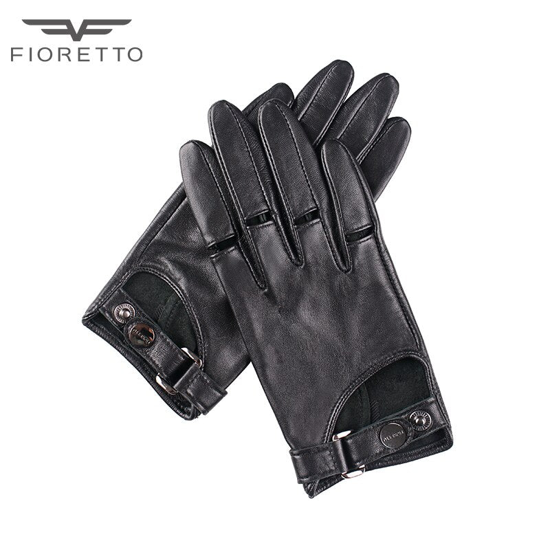 Fioretto Womens  Fashion TouchScreen Genuine Leather Gloves Ladies Punk Driving Gloves Unlined Black Brown Green