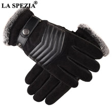 Load image into Gallery viewer, LA SPEZIA Brown Mens Leather Gloves Real Pigskin Russia Winter Gloves Warm Thick Driving Skiing Men's Gloves Guantes Luvas