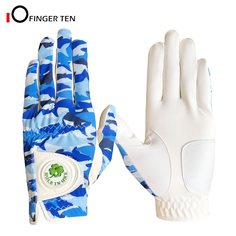 Blue Camouflage Design Golf Gloves Men with Ball Marker Cool All Weather Grip Left Right Hand Size S M L XL