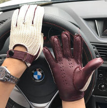 Load image into Gallery viewer, Man Goatskin Gloves Knitted + Leather Gloves Male Breathable Unlined Locomotive Driving Gloves NEW Fashion Men Leather Gloves
