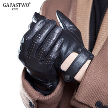 Load image into Gallery viewer, Spring And Summer Mens Imported Sheepskin Leather Touch Screen Gloves Fashion Outdoor Sports Driving Anti-Skid Cycling Gloves