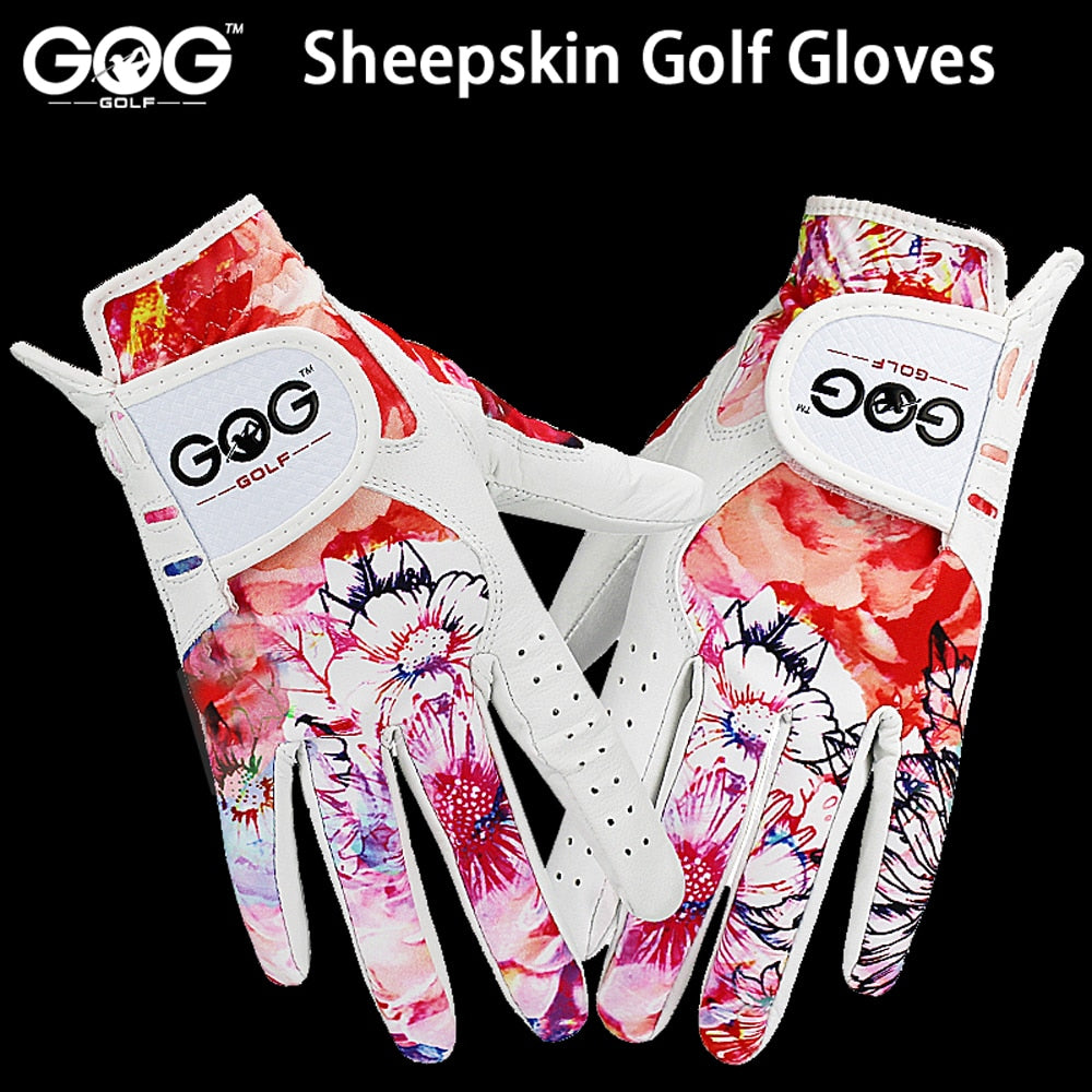 GOLF GLOVES 1 pair GOG SHEEPSKIN Genuine leather + lycra free shipping brand new left / right hand for women lady sports glove