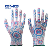 Load image into Gallery viewer, Working Gloves Women GMG Printed Polyester Shell Nitrile Coating Work Safety Gloves Women's Garden Gloves