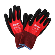 Load image into Gallery viewer, Construction Gloves GMG Red Nylon Shell Black Nitrile Sandy Coating Work Safety Gloves Men Work Gloves