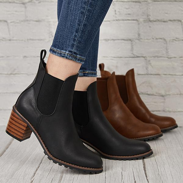 Lemmikshoes Chunky Cleated Heel Chelsea Boots