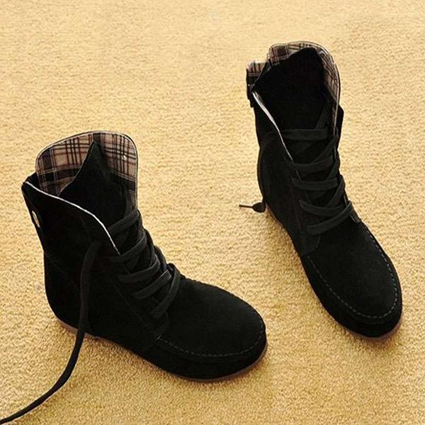 Lemmikshoes Comfortable Lace Up Flat Autumn Boots