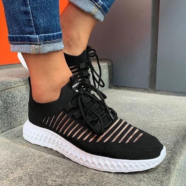 Lemmikshoes Women'S Net Surface Breathable Lace-Up Hollow Out Sneakers