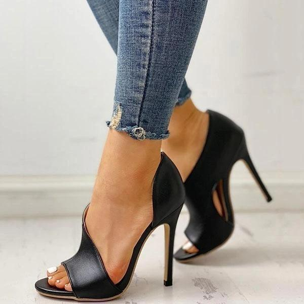 Lemmikshoes Cutout Peep Toe Thin Heeled Heels (Ship in 24 Hours)