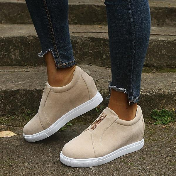 Lemmikshoes Womens All Season Zipper Casual Sneakers