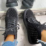 Lemmikshoes Solid Studded Eyelet Lace-Up Casual Sneakers