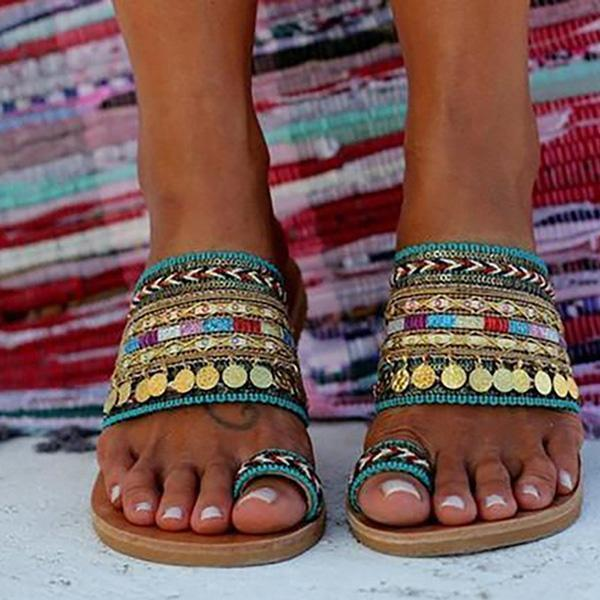 Lemmikshoes Ethnic Boho Style Toe Ring Sandals