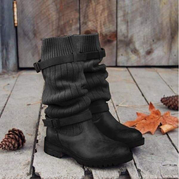 Lemmikshoes Cabin Sweater Paneled Boots