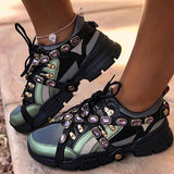 Lemmikshoes Low-Cut Upper Round Toe Beads Lace-Up Sneakers