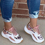 Lemmikshoes Lace-Up Round Toe Platform Low-Cut Upper Platform PU Sneakers