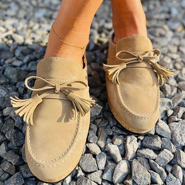 Lemmikshoes Women's Tassel Comfy Summer Loafer Sandals
