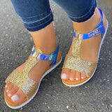 Lemmikshoes Women Fashion Sequin Open Toe Buckle Strap Platform T-Strap Sandals