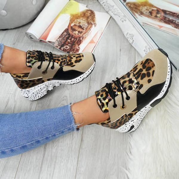 Lemmikshoes Color Block Stitching Leopard Print Casual Sneakers