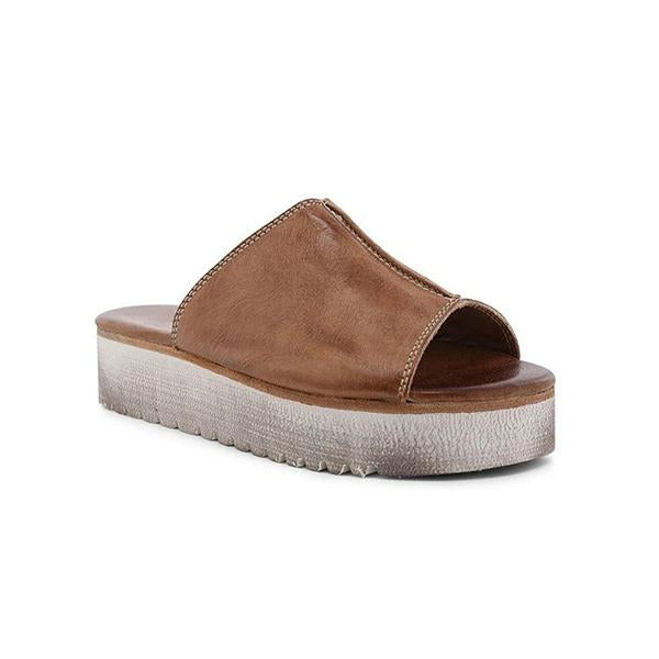 Lemmikshoes Women'S Casual Comfy Leather Daily Slip On Sandals