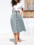Lemmikshoes Four-color-breasted Loose Pocket Skirt