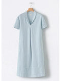Lemmikshoes Paneled Solid Lapel Side Pockets Casual Midi Dress