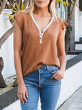 Lemmikshoes Flutter Sleeve Button Henley Top