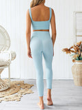 Lemmikshoes Solid High Wiast Yoga Set