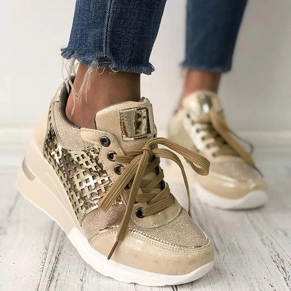 Lemmikshoes Women Trendy Splice Lace-Up Wedge Heel Sneakers