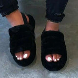 Lemmikshoes Hairy Open-Toed Comfortably Worn Home Slippers