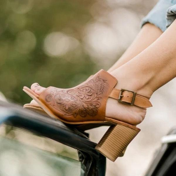 Vickymdoa Tooled Leather Hillary Heel Boots
