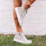 Lemmikshoes High Top Snake Print Sneakers