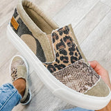 Lemmikshoes Pieced Raw Edge Animal Print Canvas Slip-On Flats