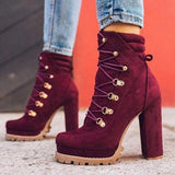 Lemmikshoes Suede Chunky Heel Ankle Boots