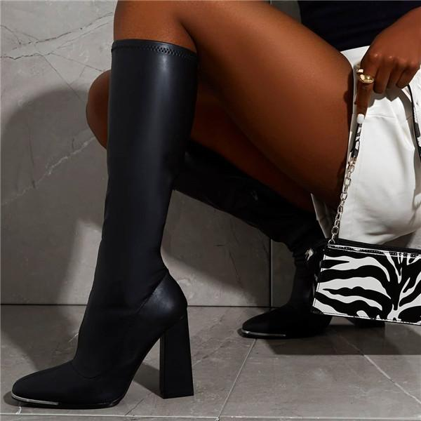 Lemmikshoes Black Pu Leather Square Knee High Boots