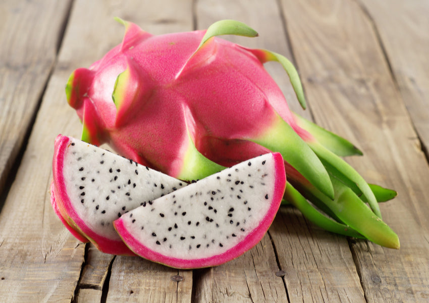 Dragon fruit on wooden surface
