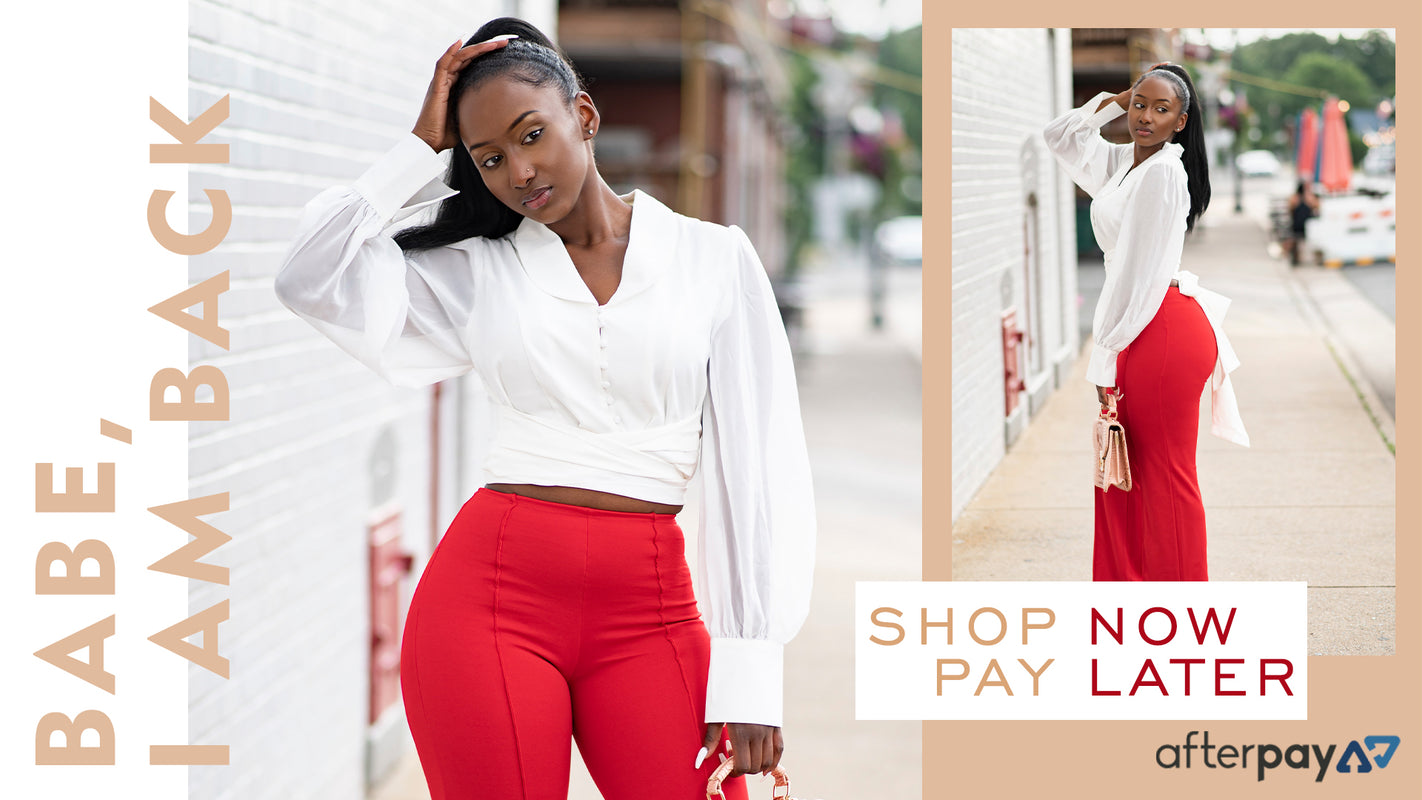 afterpay, red trouser, wide leg, blouse