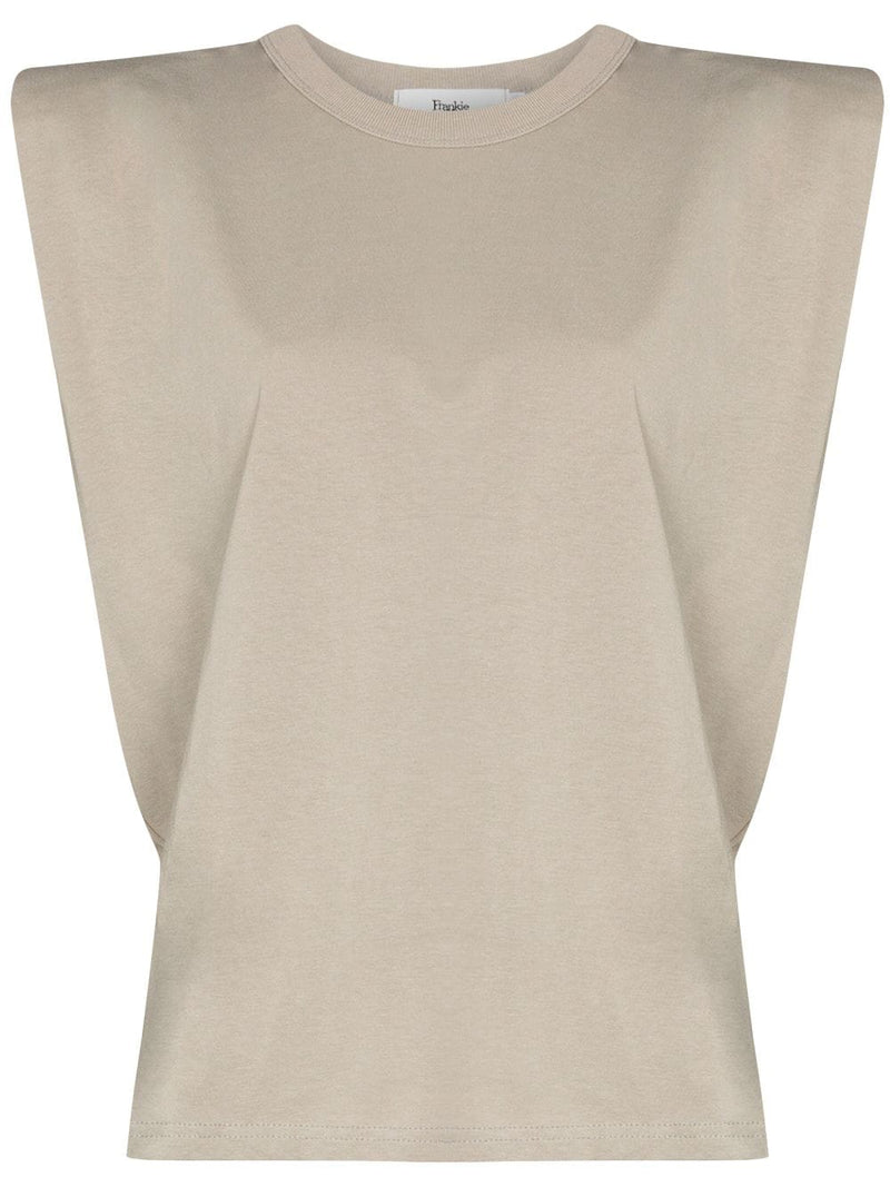 Padded Shoulder T-shirt | Tan