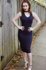 In My Feelings Navy Choker Ribbed Dress