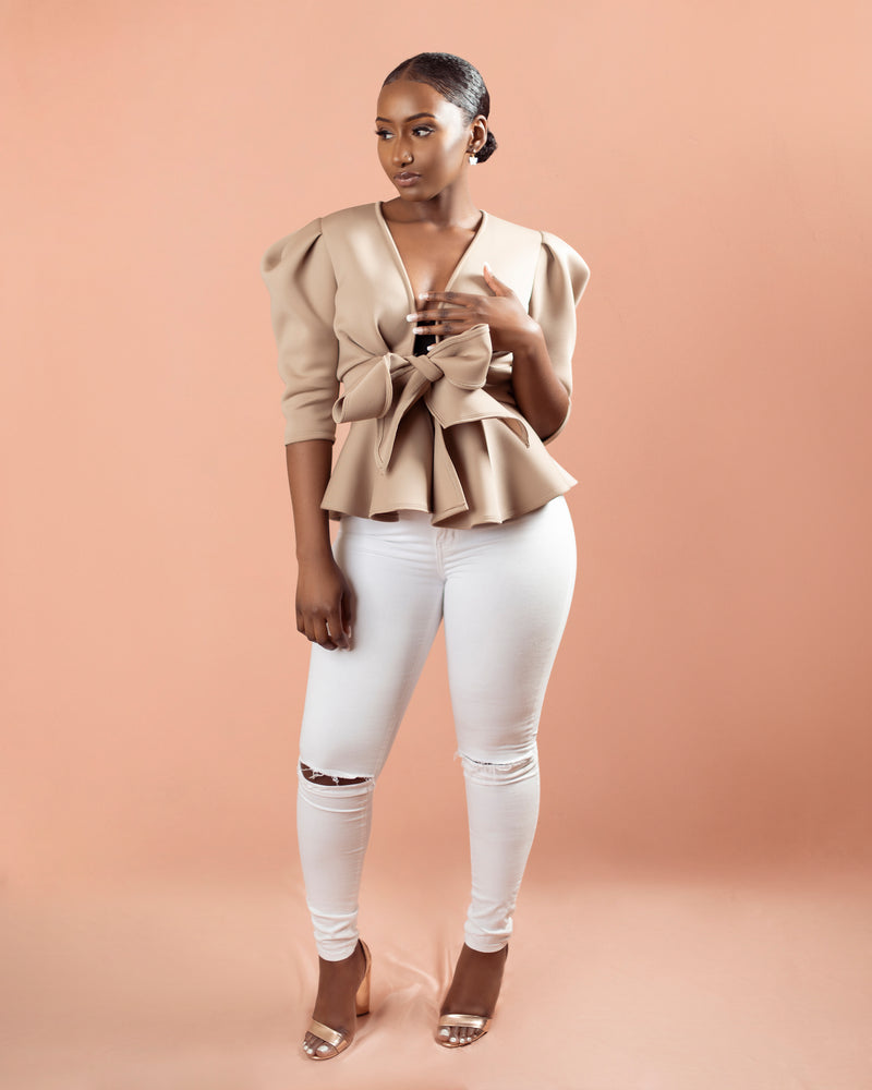 Valencia Puff Shoulder Top | Taupe