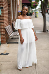 Angel In Disguise Pleated Maxi Dress |White