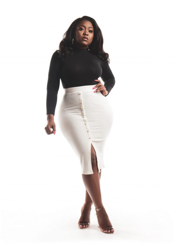Cream Miley Ribbed Button Midi Skirt