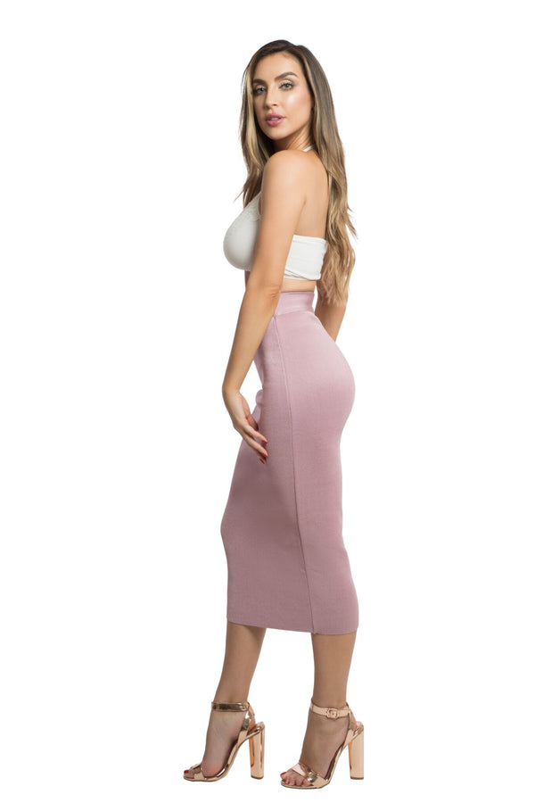 Blush Charlie High Waist Midi bandage Skirt