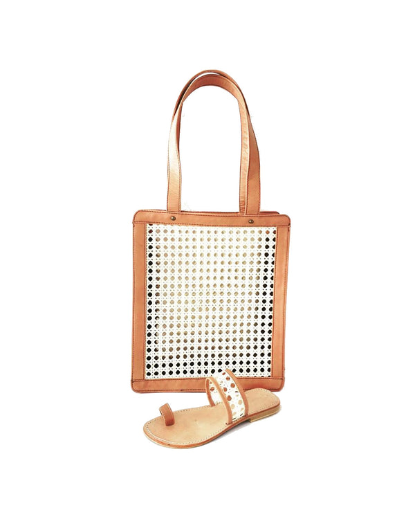 Lou Salome - Handcrafted Leather Sandals And Accessories - Brown Rattan And Leather Bag - Brown Rattan And Leather Sandal -French Designer
