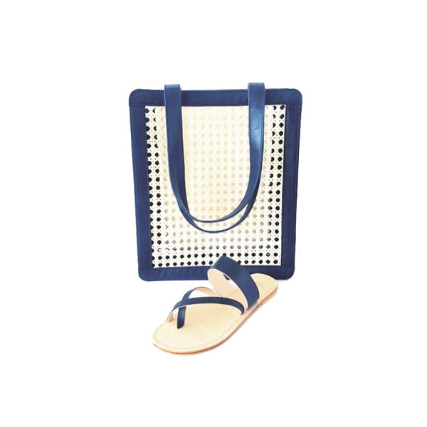 Lou Salome - Handcrafted Leather Sandals And Accessories - Blue Rattan And Leather Bag - Blue Leather Sandal -French Designer