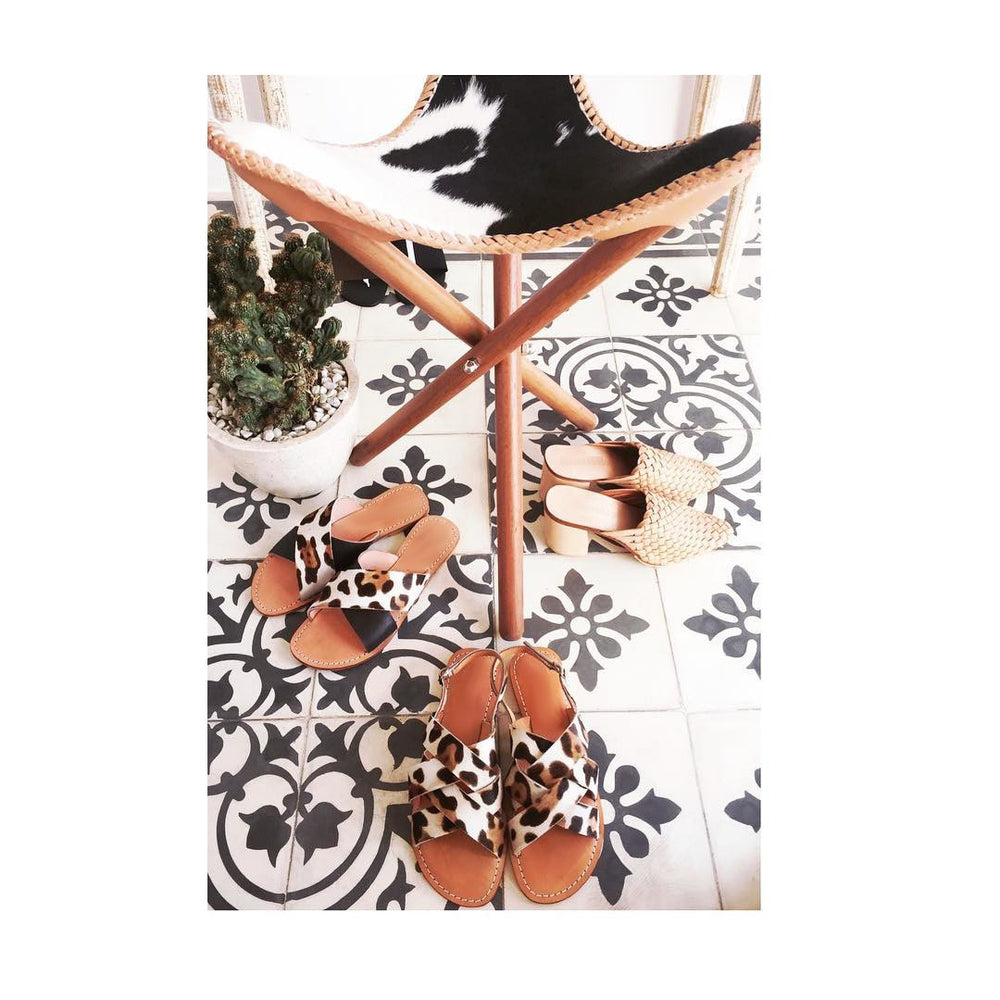 Lou Salome - Handcrafted Leather Sandals And Accessories - Leather And Rattan Sandals - Leather Sandals - Leopard Print