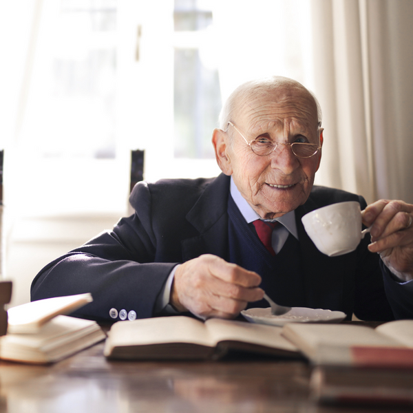 Old man drinking coffee, Coffee to cure nervous diseases
