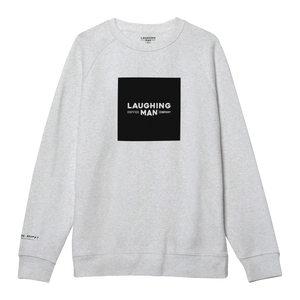 Laughing Man Crewneck Sweatshirt white with black logo