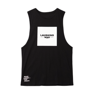 Open image in slideshow, Laughing Man  cotton Tank black
